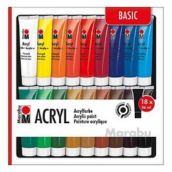 Marabu Acrylfarben-Set, 18x 36 ml