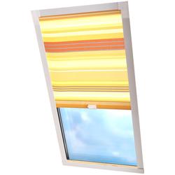 Dachfensterrollo Dekor, Liedeco, Lichtschutz, in Führungsschienen gelb Dachfensterrollos Rollos Jalousien Rollo