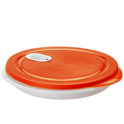 Rotho CLEVER Mikrowellen-Teller, 1,2 Liter, Mikrowellendose für warme Speisen, Farbe: papaya rot