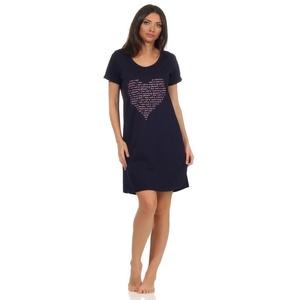 Normann Nachthemd Damen Nachthemd kurzarm Schlafshirt mit Herz Motiv M