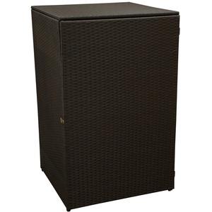 gartenmoebel-einkauf Mülltonnenbox für Grosse Tonne bis 240 Liter, 77x77x123cm, Stahl + Polyrattan Geflecht braun