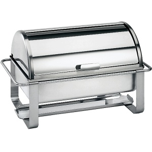 Spring Eco Catering Chafing Dish mit Rolltop Speisewärmer, Warmhaltebehälter aus Edelstahl mit Rolltop, Maße: 64 x 38 x 39 cm