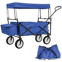 Tectake Bollerwagen Faltbarer Bollerwagen mit Dach und Tragetasche blau
