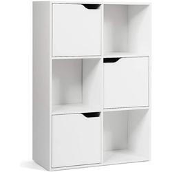 COSTWAY Bücherregal Aktenregal Aufbewahrungsregal, freistehend weiß 29 cm x 90 cm x 60 cm