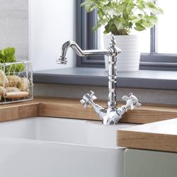 Retro Wasserhahn aus Messing - Einloch-Küchenarmatur mit Kreuzgriffen