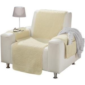 Erwin Müller Sesselschoner mit Armlehnenschoner - mit Seitentaschen - Sesselbezug - Sesselüberwurf - Sesselschutz - Natur - Größe Relaxsessel - 100% Wolle