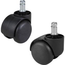 AMSTYLE 5er Set gebremste Weichboden-Rollen für Bürostuhl 11 mm Stift / Durchmesser 50 mm Teppichrollen