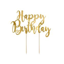 partydeco Tortenstecker, Cake Topper Happy Birthday 22.5cm, gold