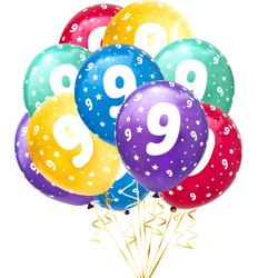 Luftballon Set Zahl 9 für 9. Geburtstag Kindergeburtstag Party 10 Deko Ballons Geburtstagsdeko bunt