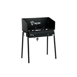 BBQ-Toro Gasgrill BBQ-Toro Gas Grilltisch mit Windschutz, Gusseisen Gaskocher 2 Brenner, 12 kW