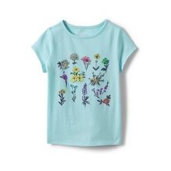 Grafik-Shirt für Mädchen, Größe: 98/104, Multi, Baumwolle, by Lands' End, Wildblumen - 98/104 - Wildblumen