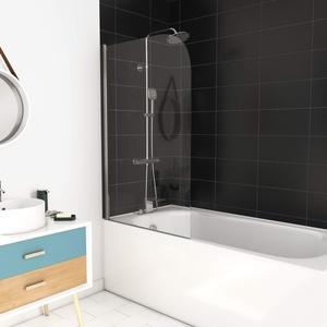 MARWELL Badewannentrennwand Classic 1-flügelig 75 x 130 cm - aus 4 mm Einscheibensicherheitsglas - Anschlag links und rechts möglich, verchromt