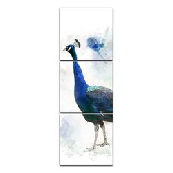 Bilderdepot24 Leinwandbild, Leinwandbild - Aquarell - Pfau 60 cm x 180 cm