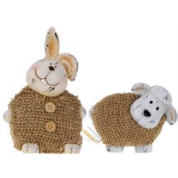 Hase oder Schaf aus Porzellan mit Fell - Osterhase Osterlamm Osterdeko