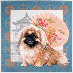 "CdA Bedrucktes Aida für Kreuzstickerei ""Pekingese in Peking"" PA1694, 34 x 34cm"