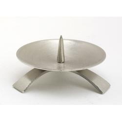 Kommunionkerzenhalter Dreifuß Silber gebürstet großem Dorn Ø 9,5 cm für Kommunionkerzen