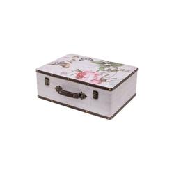 HMF Aufbewahrungsbox Vintage Koffer, aus Holz, Deko Rose, 44 x 32 x 16 cm