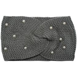 styleBREAKER Stirnband Strick Stirnband mit Twist Knoten und Perlen Strick Stirnband mit Twist Knoten und Perlen grau