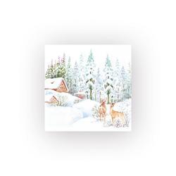 HOME FASHION Papierserviette Winterszene im Wald, (5 St), 33 cm x 33 cm