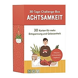 30-Tage-Challenge-Box Achtsamkeit, Meditationskarten u. Achtsamkeitstagebuch