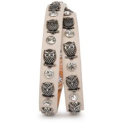 styleBREAKER Wickelarmband Armband mit Eulen Nieten & Strass, Armband mit Eulen Nieten & Strass