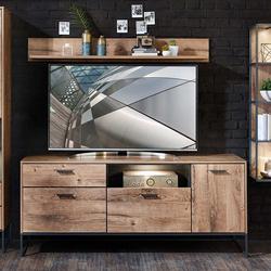 TV Board im Loft Style Eiche dunkel Optik und Dunkelgrau