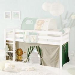 Vorhang Safari 3-teilig 100% Baumwolle inkl. Befestigung ( 2x Klettband ) grün / beige
