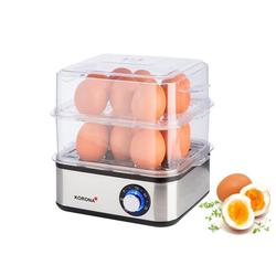 KORONA Eierkocher Eierkocher / MiniDampfgarer 25303, Anzahl Eier: 16 St., 500 W, 2in1 Edelstahl Mini Dampfgarer + XXL Eierkocher, 16 Eier, Dünster, 500 Watt