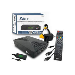 ARLI AH3 Linux Sat Receiver LAN (Ethernet) 1 SAT-Receiver (ja, Vorprogrammierte Sat Kanalliste Astra Hotbird Türksat + Web TV Player Stalker Xtream Youtube)