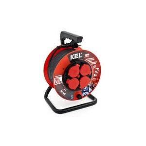 Plastrol Professional Line workshop reel extension cable 4x2p + Z 16A 3680W 25m black KEL