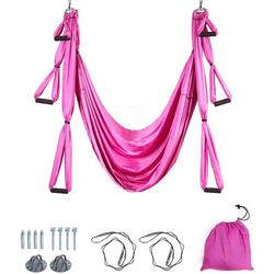 COSTWAY Hängematte Yoga Schaukel Air Fliegen Hängematte Set, mit Montagezubehör rosa