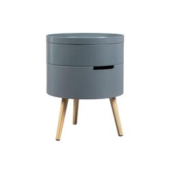 Woltu Nachttisch, Beistelltisch mit Stauraum aus Holz in Weiß grau