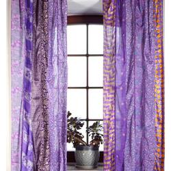 Vorhang Boho Patchwork Vorhänge (2 Stk) 1 Paar Bohemia.., Guru-Shop lila