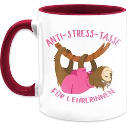 Shirtracer Tasse Anti Stress Tasse für Lehrerinnen Faultier - Tasse zweifarbig, Keramik