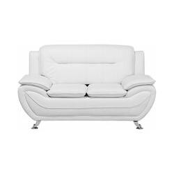 Weißes Zweisitzer Sofa Kunstleder Modern Designersofa Couch Leira