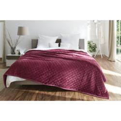 Gözze Wohndecke UNI farbig, gesteppt, 220 x 260 cm, Wohndecke aus 100 % pflegeleichtem Polyester, Farbe: beere