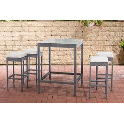 CLP Gartenmöbelset Gartenbar Alia, mit Tisch und 4 Barhockern grau