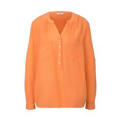 TOM TAILOR Damen Bluse mit Raffung, orange, Gr.46