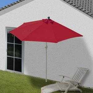 Alu-Sonnenschirm halbrund Parla, Balkonschirm UV 50+ 300cm bordeaux ohne Ständer