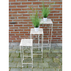 Blumenständer, 3er Set, Metall, weiß, Blumenhocker, Pflanzenständer