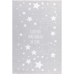 Livone Kinderteppich LOVE YOU STARS silbergrau/weiss 100x160 cm