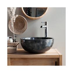 Tikamoon Waschbecken Waschbecken aus Marmor Mia dark grey grau