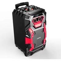 Leicke DJ Roxxx Trolley Partyspeaker Pro Bluetooth-Lautsprecher (Bluetooth, 50 W, Disko-LED-Licht, Tragegriff und Rollen)