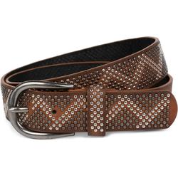 styleBREAKER Nietengürtel Gürtel mit Nieten im Zacken Look Gürtel mit Nieten im Zacken Look braun 80cm