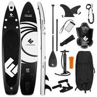 FitEngine Inflatable SUP-Board, Aufblasbares Allrounder SUP-Board - 12' 365cm schwarz