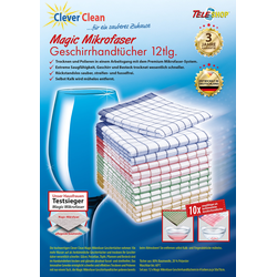 TELESHOP Geschirrtuch CleverCleanMagic Mikrofaser bunt Geschirrtücher Küchenhelfer Haushaltswaren