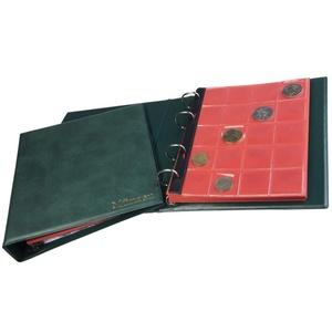 MC.Sammler Münzenalbum Münzalbum Album mit 10 Münzhüllen und roten Trennblättern für 221 Diverse Münzen Grün