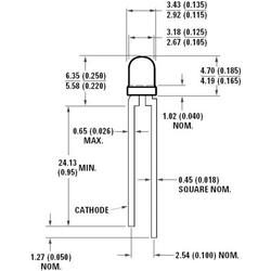 Broadcom HLMP-K640 LED bedrahtet Smaragdgrün Rund 3mm 21 mcd 45° 20mA 2.2V