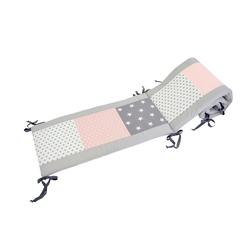 ULLENBOOM ® Bettnestchen Baby Nestchen Rosa Grau 180 x 30 cm (Made in EU), (1-tlg), Ideal fürs Babybett (160x20 cm), Bezug aus 100% Baumwolle, Design Patchwork rosa