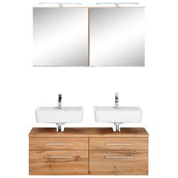 HELD MÖBEL Badmöbel-Set Davos, (2-tlg), 2 Spiegelschrank und Waschbeckenunterschrank braun